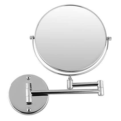 Tomex 8 Makeup Mirror/Shaving Mirror/Bathroom Mirror with 5X Magnifying Mirror & Wall Bracket with Adjustable Frame (Series:- Silver)
