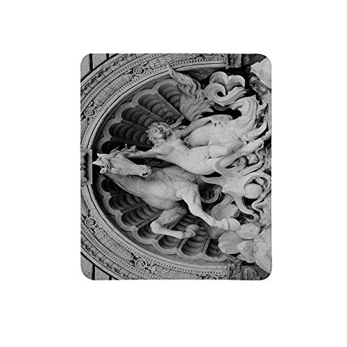 (Sculptures Decor Non Slip Mouse Pad,A Struggling Nymph with Octopus Seashell Horse in a Lunette Sculpture Art in Bologna for Home & Office,11