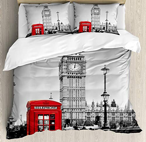Ambesonne London Duvet Cover Set Queen Size, Famous Telephone Booth and The Big Ben in England Street View Symbols of Town Retro, Decorative 3 Piece Bedding Set with 2 Pillow Shams, Red Grey ()