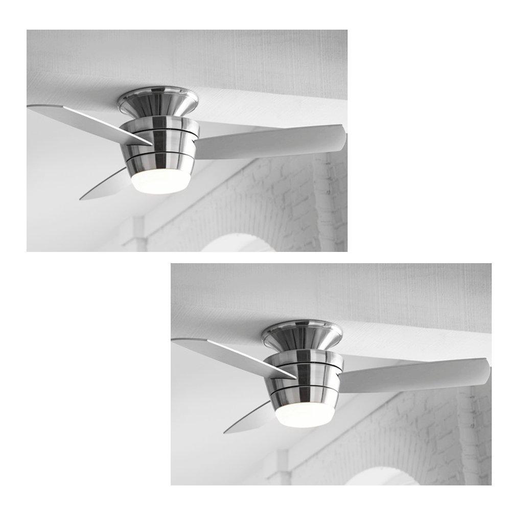 Amazon set of 2 harbor breeze mazon brushed nickel 44 in amazon set of 2 harbor breeze mazon brushed nickel 44 in brushed nickel flush mount ceiling fan with light kit and remote everything else aloadofball Images