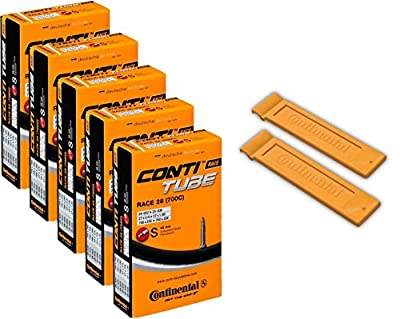 """Continental Race 28"""" 700x20-25c Bicycle Inner Tube Bundle - 42mm Long Presta Valve (Pack of 5 w/ 2 Conti Tire Levers)"""