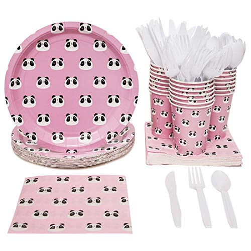 Blue Panda Pink Birthday Supplies Paper Plates Dinnerware (Set of 24) -