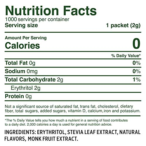 WHOLE EARTH SWEETENER Stevia and Monk Fruit Sweetener, Erythritol Sweetener, Sugar Substitute, Zero Calorie Sweetener, 1,000 Stevia Packets by Whole Earth Sweetener Company (Image #5)