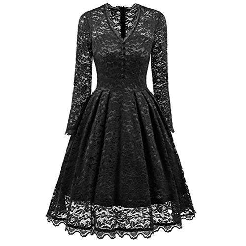 Womens Vintage Long Sleeve Evening Dress Casual Solid V Neck A-Line Lace Cocktail Party Bridesmaid Dress Prom by Kaitobe