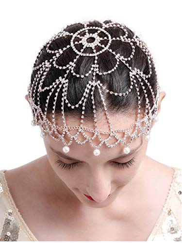 20s Headpiece 1920s Accessories Flapper Headband Crystal Cap Art Deco Hair Piece Wedding (1-Gold)