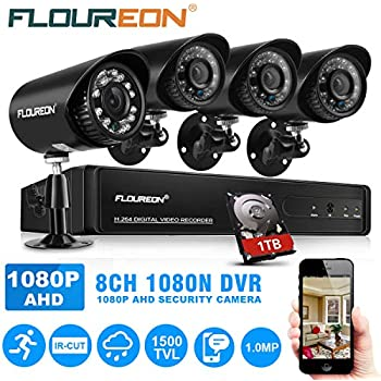 FLOUREON House Security Camera System 1080N DVR + 4 Pack 1.0MP CMOS Lens CCTV 1500TVL Night Vision Remote Access Motion Detection (8CH Amazon.com :