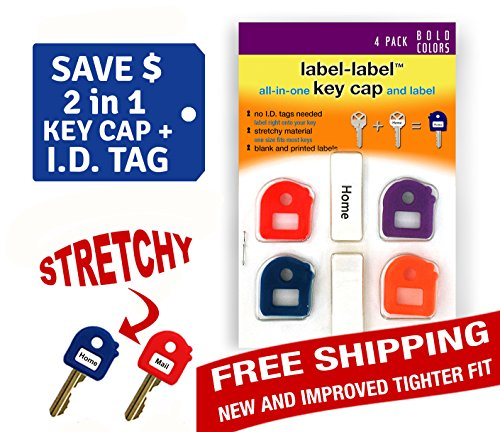 2-in-1 key cap AND tag - Stretchy Material - One Size Fits Most Keys -Blank and Printed Labels - 4 Pack - Bold Colors (Key One Blank)
