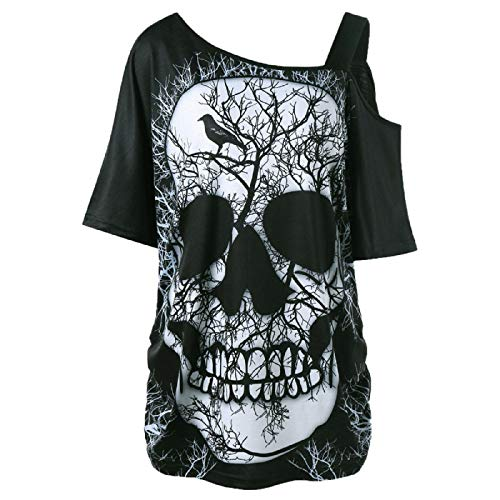 Wintialy Women Short Sleeve Skew Collar Skull T-Shirt Shoulder Skull T-Shirt Tops Blouse -