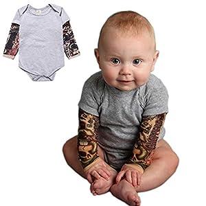 Pauboli - Body con finto tatuaggio sulle maniche, per neonato, 3-24 mesi, colori grigio e nero 9