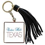 3dRose Alexis Design - American Cities Texas - Cedar Hill, Texas, red, blue text. Patriotic home town design - Tassel Key Chain (tkc_301586_1)
