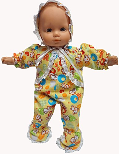 Doll Clothes Yellow Flannel Sleeper Dog Print with Hat Fits 15-16 Inch Baby - Shoes Doll Yellow Heart