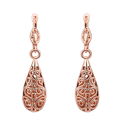 Prestep Teardrop Hollow Filigree Carved Dangle (French Back Earrings)