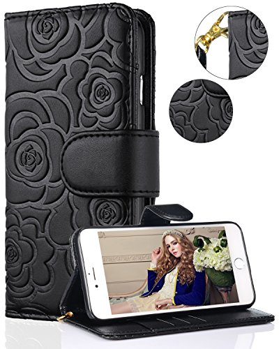 iPhone Xs Max Case,iPhone Xs Max Wallet Case,FLYEE PU Flip Wallet Leather [Emboss Flower] Magnetic Protective Cover with Card Slots and Detachable Wrist Strap for iPhone Xs Max 6.5 inch Black