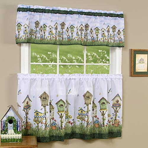 PowerSellerUSA 3-Piece Window Kitchen Curtain Set, Printed Designs, Tier Pair Panels and Valance, Assorted Designs - 58