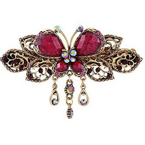 Iumer Elegant Retro Butterfly Flower Hairpin Hair Clip Barrette Accessories Purple