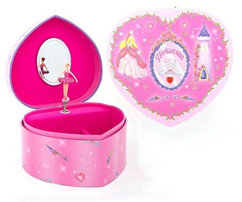 Prinzessin Schmuckkästchen mit Spieluhr in Herzenform - Rosa Schmuckkasten für Kinder - Lucy Locket