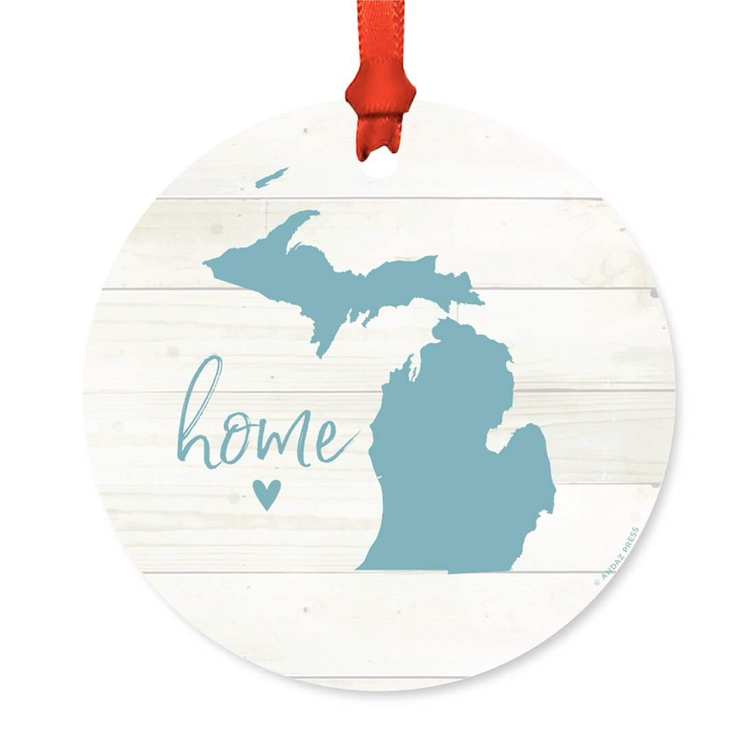 Andaz Press US State Round Metal Christmas Ornament, Rustic Light Wood Print, Michigan Home, 1-Pack, Includes Ribbon and Gift Bag
