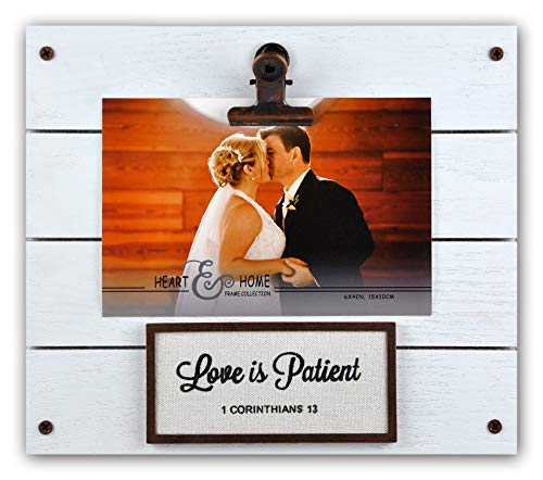 Spiretro 4 x 6 inch Sentiments Memorial Picture Frame with Metal Clip, Textured Wood & Burlap Printed Love is Patient, Tabletop Display by Easel, Wall Hang Decor, Distressed White Clip Photo Holder