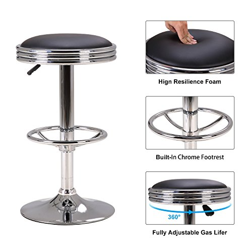 "- LCH 24""-32"" Adjustable Swivel Hydraulic Lift Bar Stool - Extra Large Round PU Leather Backless Seat with Chrome Plated Footrest and Base, Black"