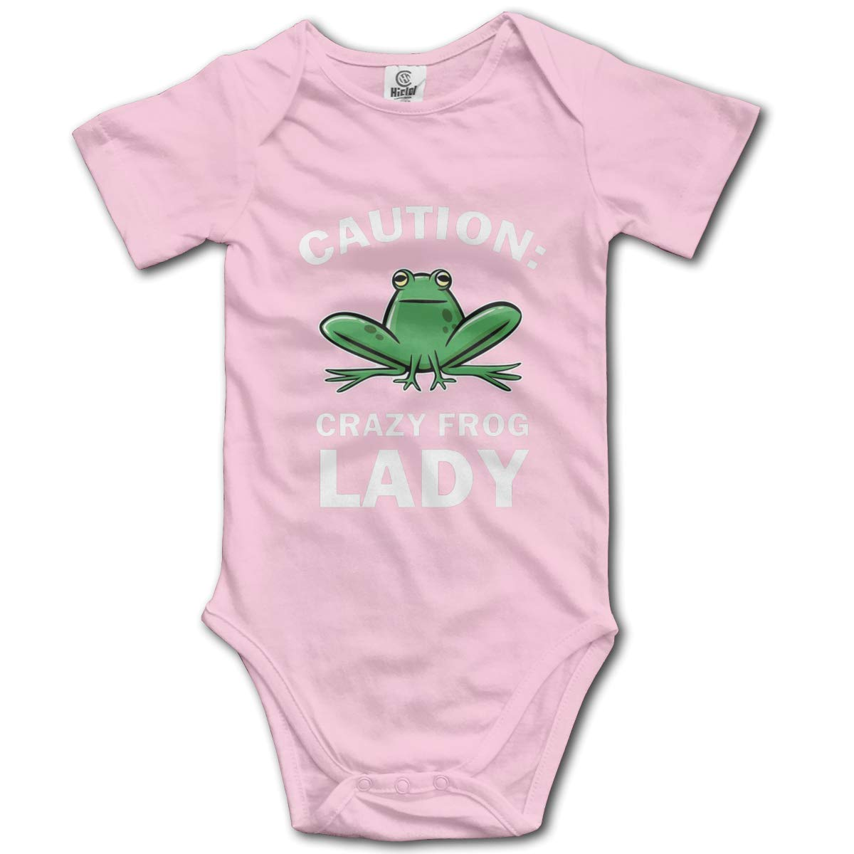 Coollifea Caution Crazy Frog Lady Logo Baby Romper 0-18 Months Newborn Baby Girls Boys Layette Rompers Black