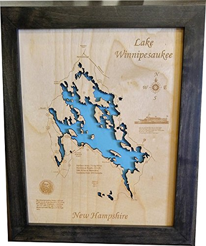 Amazoncom Lake Winnipesaukee New Hampshire Framed Wood Map Wall