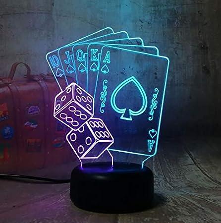 RQMQRL Póquer Naipes Juego De Dados Fiesta 3D Luz Nocturna Led Mesa De Escritorio Lámpara De Sueño Decoración para El Hogar Juguete De Cumpleaños: Amazon.es: Hogar