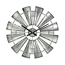 LZCYN Windmill Shape Wall Clocks Round Big Wrought Iron Clock American Nostalgic Garden Creative Clock Bedroom Round Windmill Hanging Wall Table (Color : 24in)