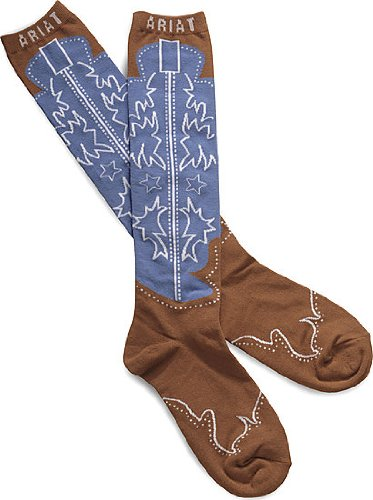 Ariat Women's Calf Boot Novelty Sock, Red, One (Ariat Womens Socks)