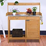 Yaheetech Outdoor Garden Potting Bench Metal Tabletop W/ Cabinet Drawer Open Shelf Natural Wood
