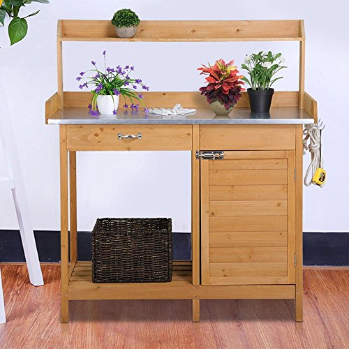Yaheetech Outdoor Garden Potting Bench Metal Tabletop W/ Cabinet Drawer Open Shelf Natural Wood by Yaheetech