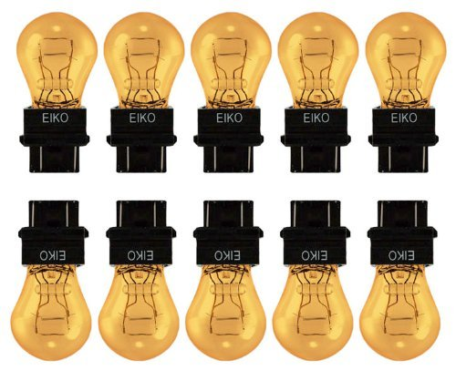 EIKO 3157 12.8V and 14v Double Filament, Plastic Wedge Base, Taillight,Turn Signal, Parking or Brake Light Bulb - AMBER Color (Pack of 10) (Amber Wedge Base)