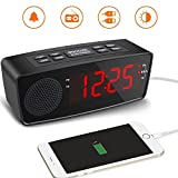 USB Alarm Clock Radio, Digital FM Radio Alarm Clock with USB for Bedroom Charging Port and FM Radios,LED Display with Dimmer, Sleep Timer, Snooze for Bedroom