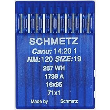 La Canilla ® - 10 Agujas para Máquina de Coser Industrial Schmetz DBx1 1738(A) 16x231 Grosor 120/19 Pistón Redondo: Amazon.es: Hogar