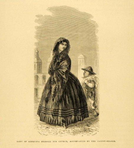 Peru Costumes Women (1875 Wood Engraving Arequipa Lady Dress Costume Peru Church Child Carpet Bearer - Original Engraving)