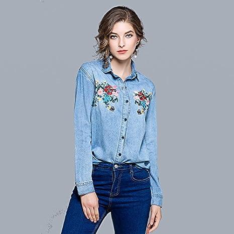 Mayihang Blusa Camisa Camiseta de manga larga de resorte cónico lavado Jeans camisa manga larga camisa de Cowboy Color,Imagen,S: Amazon.es: Deportes y aire libre
