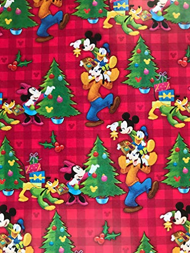 Golden Gift Box Mickey Mouse, Minnie Mouse, Goofy, Donald Duck, Daisy Duck, and Pluto Christmas Wrapping Paper- Mickey Gift Wrap Paper - 1 Roll (Red Plaid Mickey Mouse and Friends, 60sf) (Christmas Mickey Wrapping Mouse Paper)