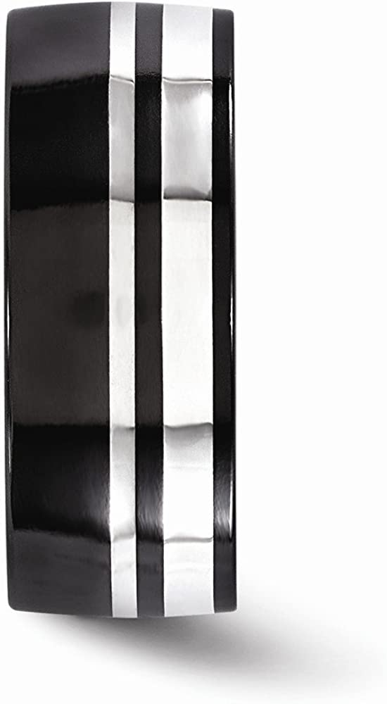Mens Jewelry and Accessories Rings Wedding Bands Edward Mirell Black Ti and Sterling Silver 9mm Polished Band Size 8.5