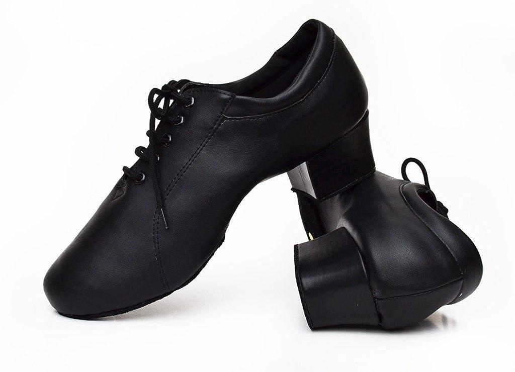 CRC Mens Stylish Round Toe Lace Up Black Leather Salsa Tango Ballroom Morden Latin Jazz Rumba Professional Dance Shoes
