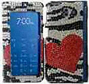 Silver Zebra Heart Bling Gem Jeweled Crystal Cover Case for Sanyo Innuendo SCP-6780