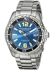 Stuhrling Original Men's 382.3312 Prestige Swiss Regatta Captain Quartz Diver Date Blue Dial Watch
