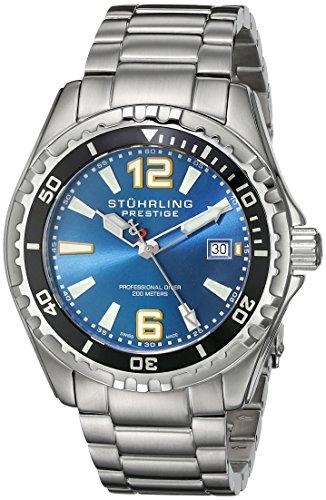 Stuhrling Original Men's 382.33116 Prestige Swiss Regatta Captain Quartz Diver Date Blue Dial Watch (Prestige Bezel Bracelet)