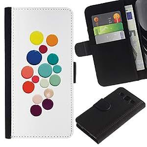 UberTech / Samsung Galaxy S3 III I9300 / Pastel Color White Dots Colorful / Cuero PU Delgado caso Billetera cubierta Shell Armor Funda Case Cover Wallet Credit Card