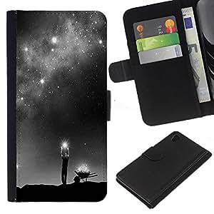 iBinBang / Flip Funda de Cuero Case Cover - God Milky Way Deep Meaning Stars - Sony Xperia Z4