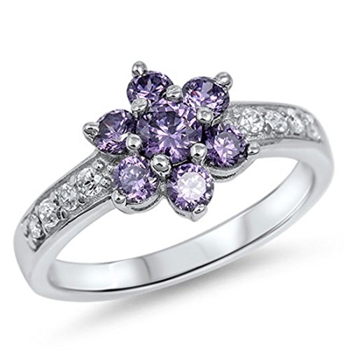 Flower Cluster Ring Round Simulated Purple Amethyst CZ Solid 925 Sterling Silver Dazzling Accent