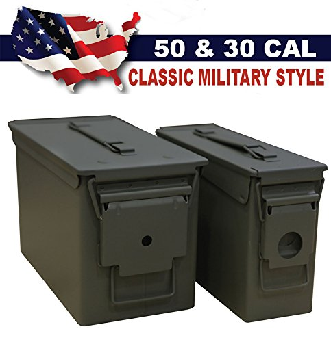 Heritage Products Classic Military Styling Sealed Lid Steel Ammo Can Double Pack with 50 Caliber Ammo Can (M2A1) and 30 Caliber Ammo Can (M19A1)