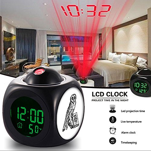 Girlsight Alarm Clock Multi-function Digital LCD Voice Talking LED Projection Wake Up Bedroom with Data and Temperature Wall/Ceiling Projection,owl-129.Henry Holt and Company 1890 from Girlsight