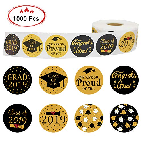 (Mosoan 2019 Graduation Stickers - Graduation Announcement Seals - Graduation Party Favor Stickers - Round Circle Stickers for Envelope, Invitations, Favors and Crafts - Roll of)