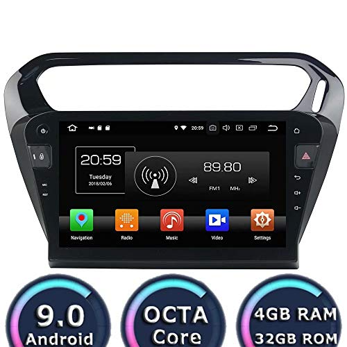 (ROADYAKO 10.1Inch Head Radio for Peugeot 301 2013 2014 2015 2016 Android 9.0 Car Radio Stereo with GPS Navigation 3G WiFi Mirror Link RDS FM AM Bluetooth AUX Multimedia Audio Video)