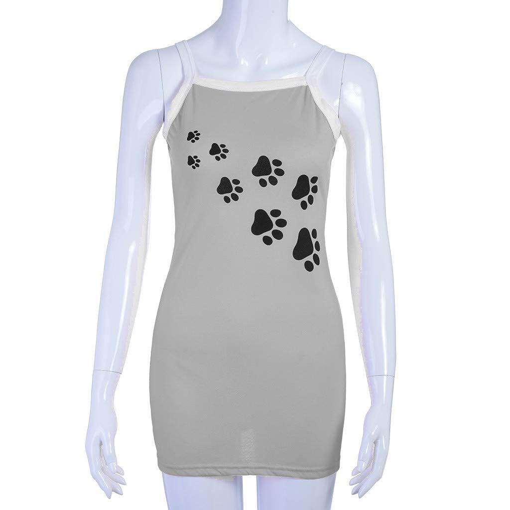 Women Summer Casual Cute Dog Paw Printed Tshirt Dress Spaghetti Strap Beach A-Line Mini Dress(M,Gray-2) by Sinohomie (Image #4)