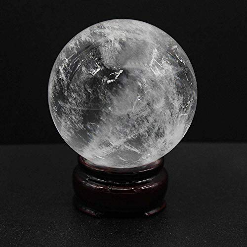 BEADIY-Big Size Natural Quartz Stone Crystal Healing Ball Quartz Sphere 60MM With Wooden Stand